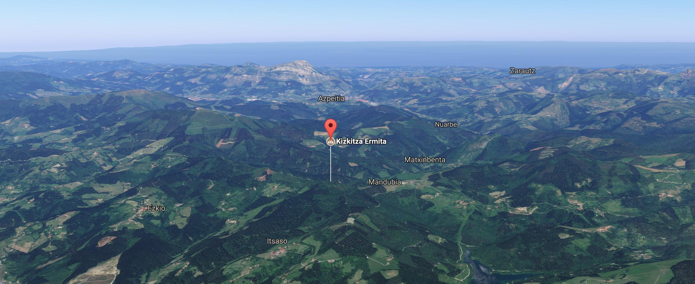 Itsasoko Kizkitza tontorreko baseliza 3D mapan