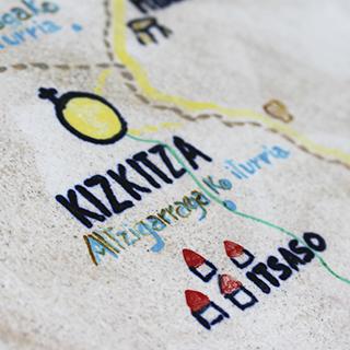 Itsasoko Pott Keramika estudioak Kizkitzarako egindako zeramikazko mapan Kizkitza eta Itsaso