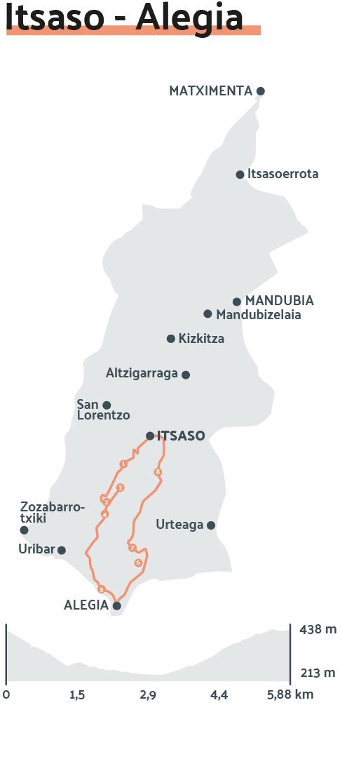 Mapa: Itsaso - Alegia  ibilbide zirkularra